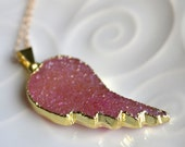 RESERVED Silver Dipped Angel Wing Necklace, Druzy Necklace