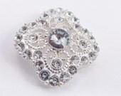 Vintage 1980's clear rhinestone silver toned filigree metal pendant