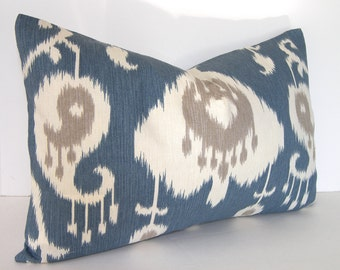SALE - Decorative Lumbar Ikat Pillow Cover - Both Sides - Taupey Grey - Ivory and Blue