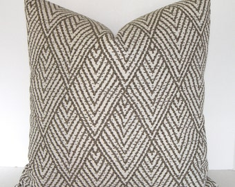 Both Sides / Kravet / Decorative Designer Pillow Cover / Tahitian Stitch / Tusk / Taupe and Ivory / Lumbar / Throw Pillow