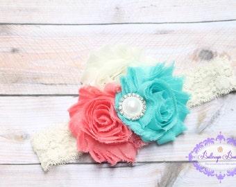 Aqua and coral headband, aqua coral headband, newborn headband, infant headband, photo prop,  shabby flower headband, toddler headband