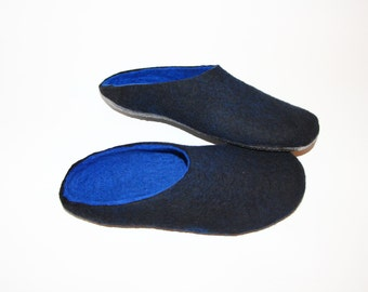 Mens Mule Clogs - Felted Wool Slippers - Minimalist Shoes - Mix and Match - Rubber Soles - Gift for Him - Natural Shoes - House Shoe