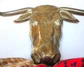 Large Vintage Brass Steer Wall hanging