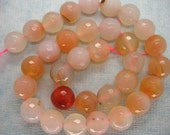 Full Strand Peachy Pink  Agate Faceted Round Gemstone Beads 12mm