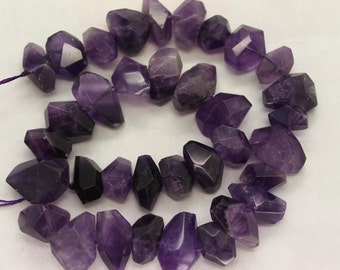 Natural Amethyst Freeform Faceted  Beads 16 Inch Strand