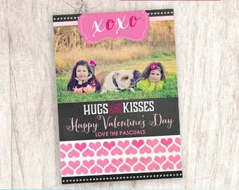 XOXO Valentine's Day Photo Card, Pink Hearts Picture Valentine, Hugs and Kisses - DiY Printable, Print Service Available || XOXO Chalkboard