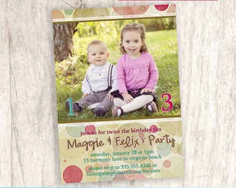 Combined Birthday Party Photo Invitation, Joint Birthday Party Invite, Brother Sister Dual Party - DiY Printable || Harmony Bubbles Double