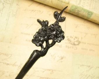 Exquisite Ebony Wood Hair Pin Wooden Stick - Plum Blossom