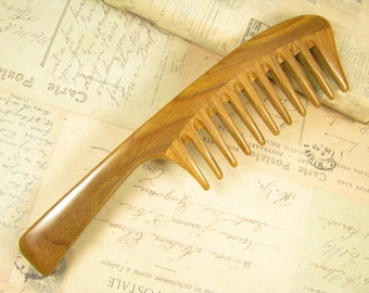 Strong Wide Tooth Verawood Detangling Hair Comb Long Handle