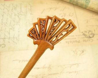 Handmade Wooden Hair Stick - Royal Court Fan