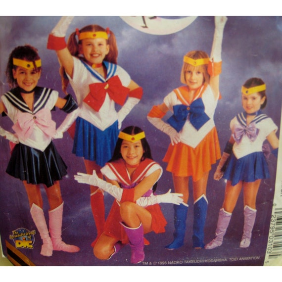 "Sailor Moon Costume Sewing Pattern,  Halloween, Anime, Dress, Gloves Boots, Headband - McCalls No. 7859 UNCUT Girls Size 5-6  Chest 24""-25"""