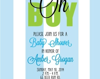 Blue and Green Striped Boy Baby Shower Invitation