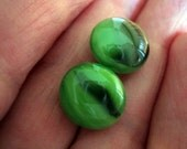 Green Black and White POST STUD EARRINGS from Fused Glass By Ginger