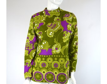Mod Print Tunic Top, Vintage 1960s Size Large, Pea Green and Purple Psychedelic