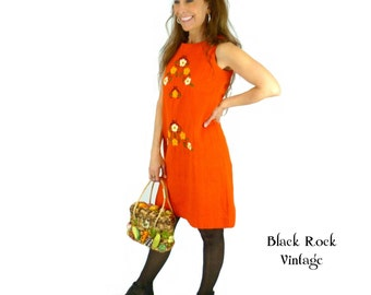Embroidered Mini Dress, 1960s-1970s Orange Scooter Dress, Vintage Size Small