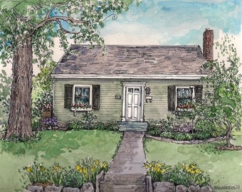 Custom House Portrait ,Watercolor and Pen/Ink from photos,Our First Home,Family Heirloom,Hand drawn and Painted Original House Portrait