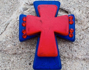 Large Stacked Cobalt Blue Stone Cross with Red Stone Cross and Bling