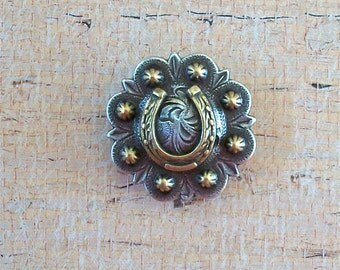 Horseshoe Concho Silver with Gold MEDIUM