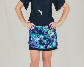 Night Garden - Abstract floral layered miniskirt in vintage 80s fabric
