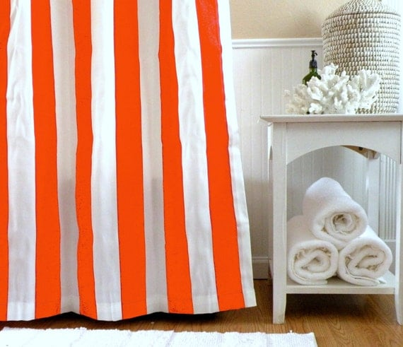 Items Similar To Shower Curtain Orange Striped Shower Curtain Orange Shower Curtain