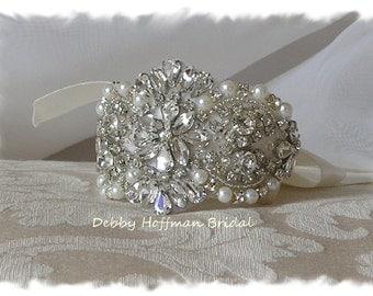 Crystal Pearl Bridal Cuff Bracelet, Bridal Pearl Rhinestone Cuff, Jeweled Pearl Wedding Bracelet, Bridal Wedding Cuff Bracelet, No. 4065CB