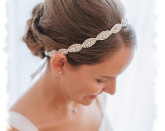 Rhinestone Bridal Headband, Jeweled Headband, Boho Halo Headband, Crystal Bridal Headpiece, Ribbon Wedding Headband, Head Piece, No. 4070HB