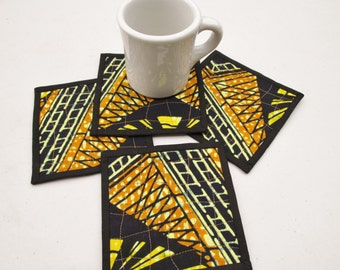 Quilted Fabric African Batik Coaster Set of 4