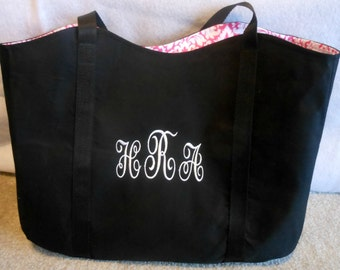 Sample Monogrammed Tote in Black with Pink and White Lining