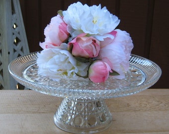 Windsor Crystal Clear Cake Stand by the Indiana Glass Co - Wedding Birthday Cake - Oak Hill Vintage