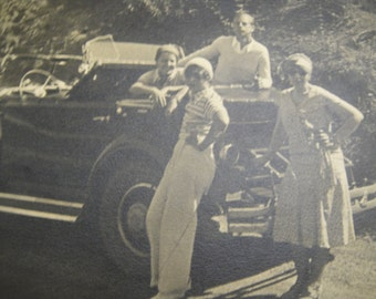 Sunday Drive Old Photograph Couples Convertible Car