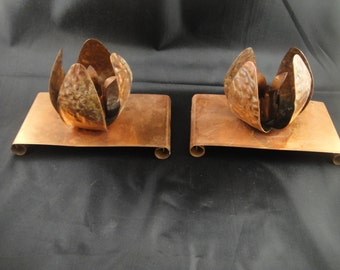 Copper Tulip Shaped Candle Holders on base with scrolled feet
