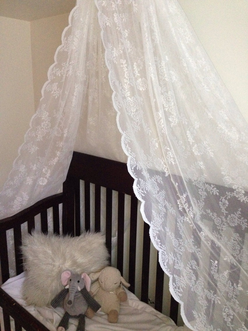 Items similar to lace canopy with ribbon for baby girl for Baby girl canopy cribs