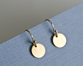 Gold Satin Coin Earrings, Small Gold Disc Earrings, 24k Vermeil Satin Round Tiny Disc , Geometric, Simple, Minimalist Jewelry,