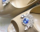 Blue Crystal Shoe Clips, wedding bridal Shoe Clips, Swarovski Jewelry shoe clips, vintage style ,Sparkling Shoe accessories