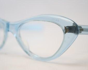 Blue cat eye glasses vintage cateye frames eyeglasses 1960s glasses