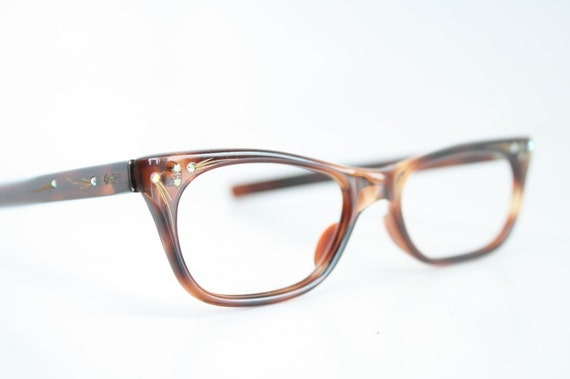 Small Frame Cateye Glasses : NOS Small tortoise cat eye glasses vintage cateye frames