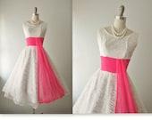 50's Wedding Dress // Vintage 1950's White Lace Chiffon Wedding Dress Tea Gown XS