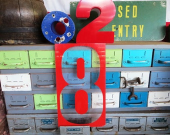 """Vintage 18"""" Marquee Red & Clear Sign Number '8' / Eight: Large Industrial Gas Station Wall Hanging Salvage - Transparent Advertising Numeral"""
