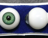 24 mm Green Glass Karl Paperweight Doll Eyes with a Threaded Iris- One Pair