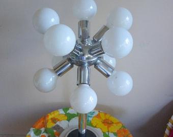SALE  Vintage Mid Century Modern 1970's Sputnik Table Lamp Stainless Steel Mod Mid Century