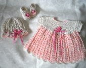 Fluffy Pink 3 Piece Dress Set for 12 Months Baby