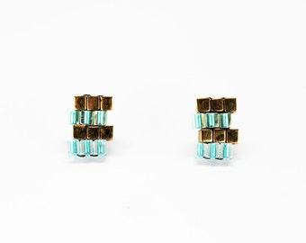 Blue Zig Zag Earrings - in stock!
