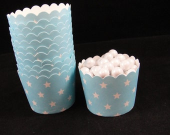 Sky Blue with White Stars  Baking Cups, Candy Cups, Nut Cups, Weddings, Party Cups, Candy Buffets, Wedding Cupcakes, Favors, QTY 12