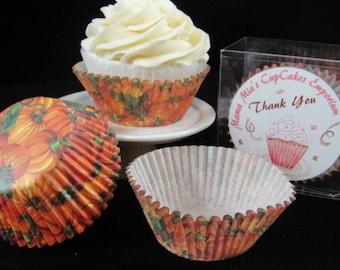 Fall Pumpkin Cupcake Liners, Thanksgiving, Fall Cupcakes, Fall Pumpkins- Quantity 25