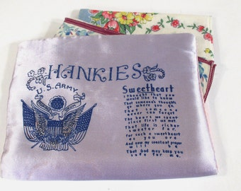 Vintage US Army Satin Sweetheart Handkerchief Holder with 2 Floral Hankies, Lavender and Pink, Valentine Gift