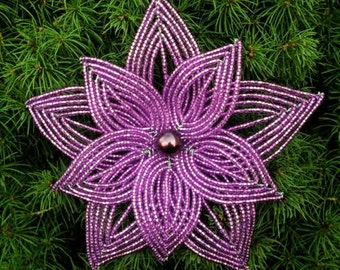 Layered Purple French Beaded Flower Ornament