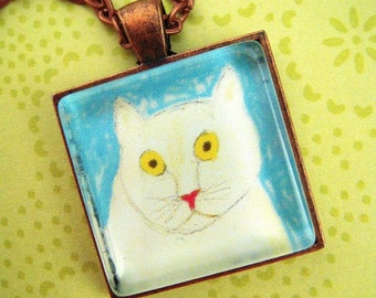 White Cat Glass Pendant Necklace Handcrafted Folk Art FREE Gift Pouch