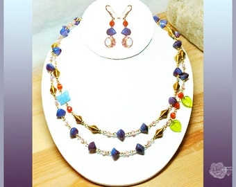 """21"""" Necklace Blue/Purple Czech Beads, Rose Crystals Orange Catseye Gold Bead Chain Blue Butterfly Green Leaves, And/Or Matched Gold Earrings"""