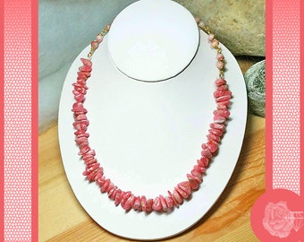 """16"""" Necklace Pink Rhodochrosite Rare Pink Stone Round Beads and Smooth Larg Chips Gold Magnetic Clasp Matching Earrings Available Separately"""