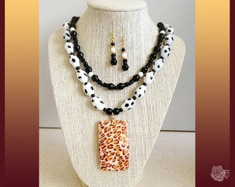 """17"""" Necklace Black n White Lampwork Black Dot-Dash Czech Beads Hand Painted Leopard Shell Pendant 2-Strands And/Or 14K Gold-Filled Earrings"""